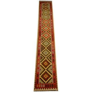 Herat Oriental Afghan Hand-woven Tribal Vegetable Dye Wool Mimana Kilim Runner (2'7 x 16'2)