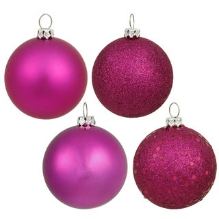 Magenta Plastic 3-inch 4-finish Assorted Ornaments (Case of 16)