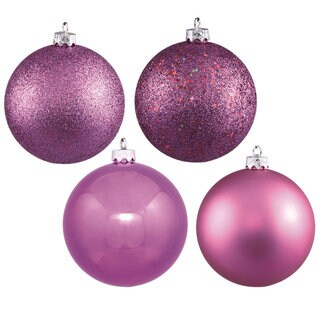 3-inch Orchid 4-finish Assorted Ornaments (Pack of 16)