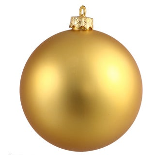 Gold-tone Plastic 3-inch Matte Ball Ornament (Case of 12)