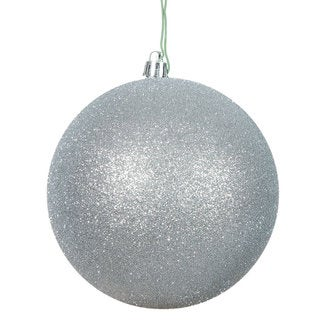 Silver Plastic 3-inch Glitter Ball Ornament (Pack of 12)