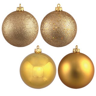 Gold 4-finish Assortment 3-inch Ball Ornaments (Set of 16)