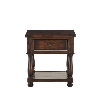 Carmela Chestnut-finish Reclaimed Neem Wood Storage Side Table