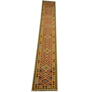 Herat Oriental Afghan Hand-woven Tribal Vegetable Dye Wool Mimana Kilim Runner (2'8 x 16'5)