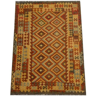 Herat Oriental Afghan Hand-woven Vegetable Dye Tribal Wool Mimana Kilim (4'10 x 6'8)