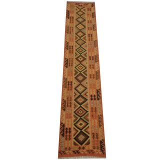 Herat Oriental Afghan Hand-woven Tribal Vegetable Dye Wool Mimana Kilim Runner (2'7 x 13')