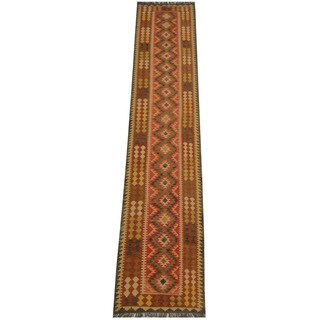 Herat Oriental Afghan Hand-woven Tribal Vegetable Dye Wool Mimana Kilim Runner (2'7 x 13'5)