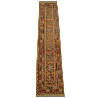 Herat Oriental Afghan Hand-woven Tribal Vegetable Dye Wool Mimana Kilim Runner (2'8 x 12'8)