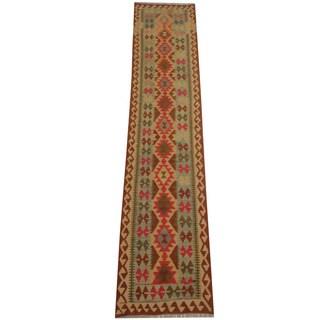 Herat Oriental Afghan Hand-woven Vegetable Dye Tribal Wool Mimana Kilim Runner (2'8 x 12'9)