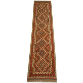 Herat Oriental Afghan Hand-woven Tribal Vegetable Dye Wool Mimana Kilim Runner (3'1 x 13'3)