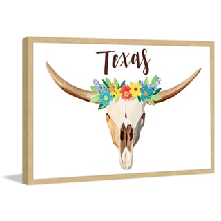 Marmont Hill - 'Texas Floral Longhorn' by Molly Rosner Framed Painting Print
