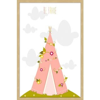 Marmont Hill - 'Pink Tee Pee' by Karen Zukowski Framed Painting Print