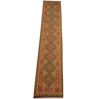 Herat Oriental Afghan Hand-woven Tribal Vegetable Dye Wool Mimana Kilim Runner (2'9 x 13'4)