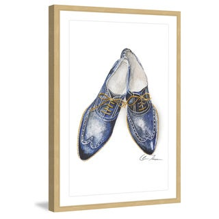 Marmont Hill - 'Cobalt Blue Shoes' by Claire Thompson Framed Painting Print
