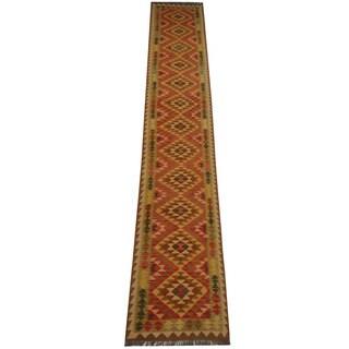 Herat Oriental Afghan Hand-woven Tribal Vegetable Dye Wool Mimana Kilim Runner (2'9 x 15'11)