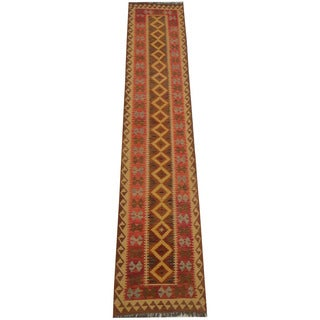 Herat Oriental Afghan Hand-woven Tribal Vegetable Dye Wool Mimana Kilim Runner (2'6 x 13')
