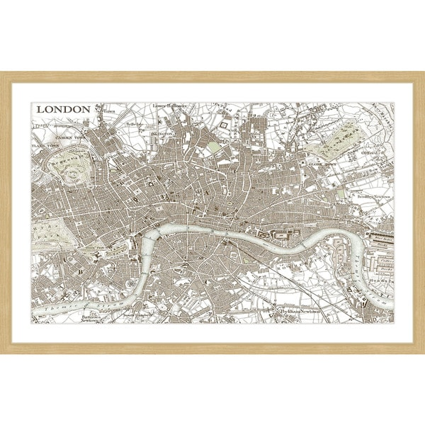Shop Marmont Hill - \'Sepia London Map\' Framed Painting Print - Multi ...