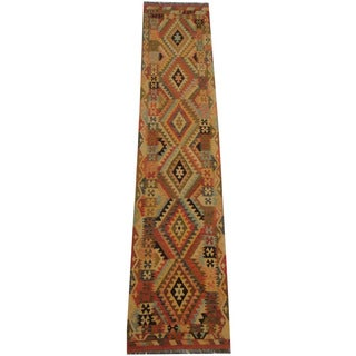 Herat Oriental Afghan Hand-woven Tribal Vegetable Dye Wool Mimana Kilim Runner (2'8 x 13'2)
