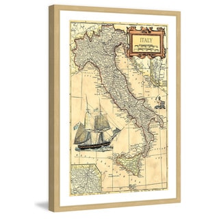 Marmont Hill - 'Italy Map' Framed Painting Print