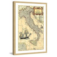 Marmont Hill - 'Italy Map' Framed Painting Print - Multi