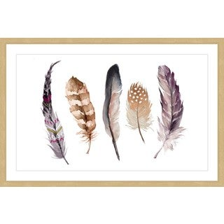 Marmont Hill - 'Five Feathers II' by Melanie Clarke Framed Painting Print
