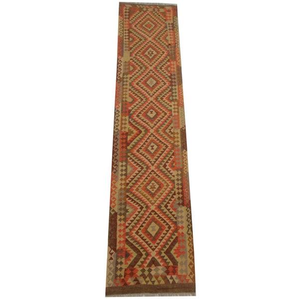 Herat Oriental Afghan Hand-woven Vegetable Dye Tribal Wool Mimana Kilim Runner (2'8 x 12'7)