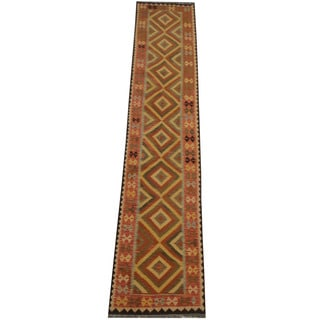Herat Oriental Afghan Hand-woven Tribal Vegetable Dye Wool Mimana Kilim Runner (2'9 x 13'6)
