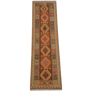 Herat Oriental Afghan Hand-woven Vegetable Dye Tribal Wool Mimana Kilim Runner (2'5 x 8'8)