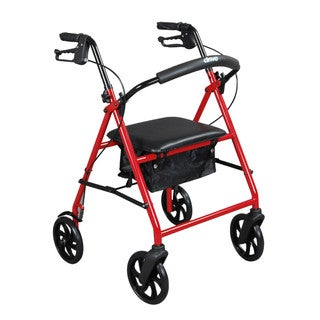 Drive Medical Steel Walker Rollator with 8-inch Wheels (Red)