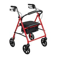 "Drive Medical Steel Walker Rollator with 8-inch Wheels - 25.4""l x 24.5""w x 36.5""h"