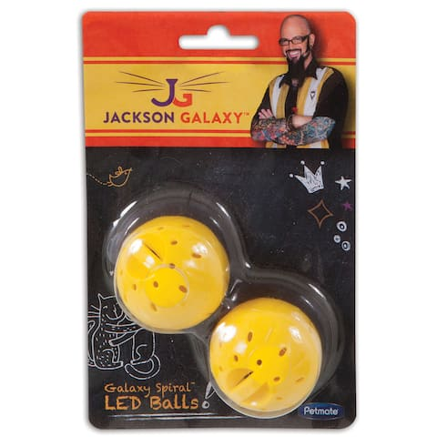 Jackson Galaxy Spiral Plastic Yellow LED Ball Cat Toy (Set of 2) - 6.0000 X 4.0000 X 1.6000