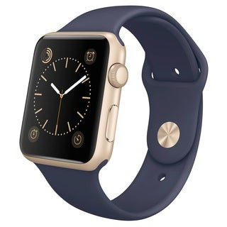 Apple Watch 42mm Gold Aluminum Case with Midnight Blue Sport Band (Certified Refurbished)