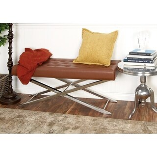 Benzara Brown Tufted Leather and Stainless Steel Bench