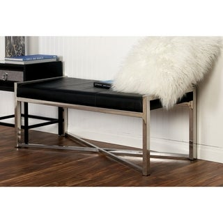 Benzara Alluring Black Leather and Stainless Steel Bench