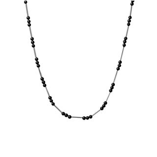 Calvin Klein Women's Chaplet Black Bead Chain/Stainless Steel Fashion Necklace