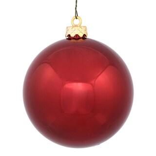 Burgundy Plastic 3-inch Shiny Ball Ornament (Pack of 12)