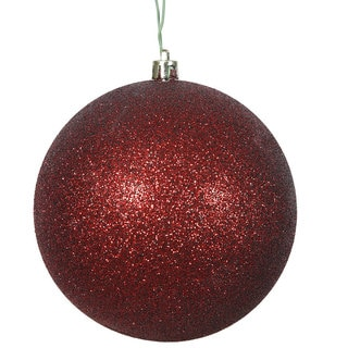 Burgundy Plastic 3-inch Glitter Ball Ornaments (Case of 12)
