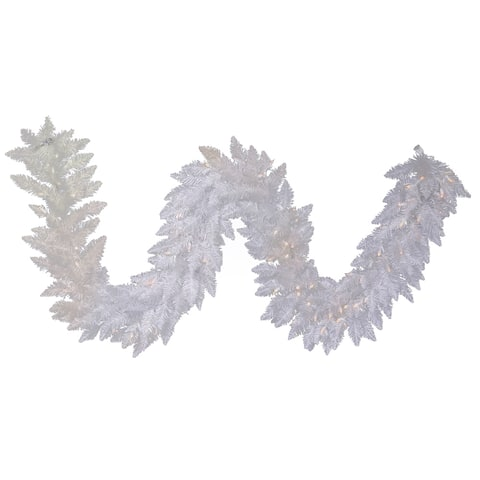 Vickerman Sparkle White Plastic 9-foot x 14-inch Garland With 100 White LED Lights