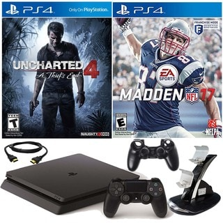 PlayStation 4 Slim 500GB Uncharted 4 Console withMadden NFL 17 & Accessories