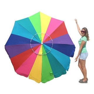 EasyGo 7' Heavy-duty Rainbow Beach Umbrella with Sand Anchor Carry Bag