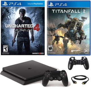 PlayStation 4 Slim 500GB Uncharted 4 Console with Titanfall 2 & Accessories