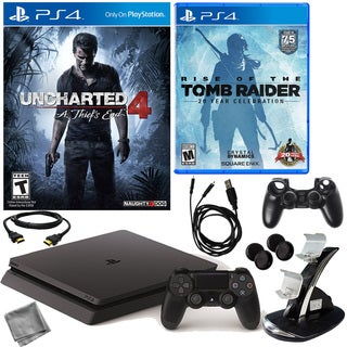PlayStation 4 Slim 500GB Uncharted 4 Console with Rise Of The Tomb Raider & Accessories