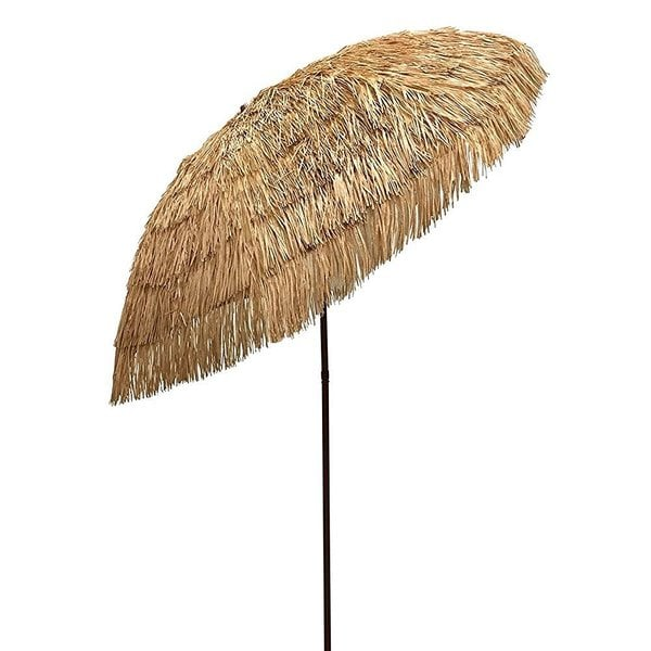 EasyGo Beige Plastic/Steel 8 Foot Thatch Patio Umbrella   Free Shipping  Today   Overstock.com   19768519