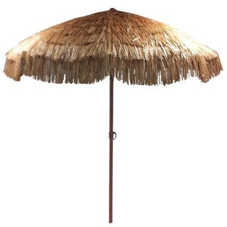 Delightful EasyGo Beige Plastic/Steel 8 Foot Thatch Patio Umbrella
