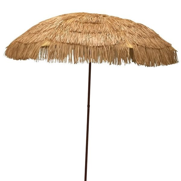 Beau EasyGo Beige Plastic And Metal 6.5 Foot Raffia Thatched Tiki Patio Umbrella