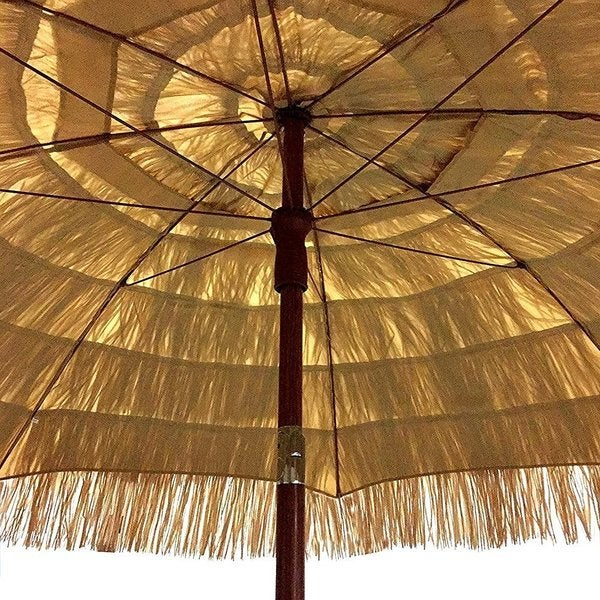 EasyGo Beige Plastic And Metal 6.5 Foot Raffia Thatched Tiki Patio Umbrella    Free Shipping Today   Overstock.com   19768521