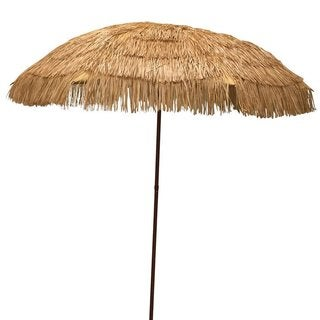 EasyGo Beige Plastic and Metal 6.5-foot Raffia Thatched Tiki Patio Umbrella