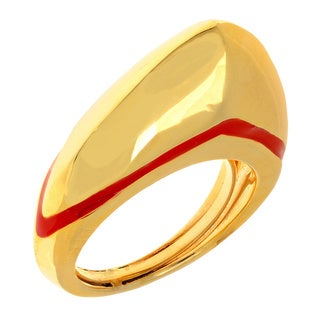 Ladies' Unique Brass Red Line Embellished Ring