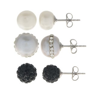 Pearls For You Sterling Silver 8-10mm White, Grey Orbit Pearl, Jet Clay Bead FWP 3-piece Stud Set