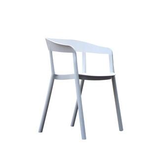European Crosspiece Back Slim White Arm Chair